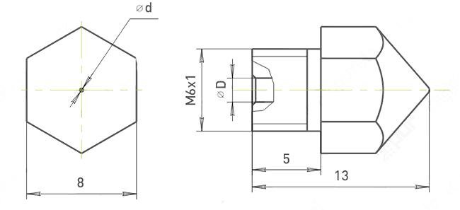 Сопло Экструдера схема и размеры