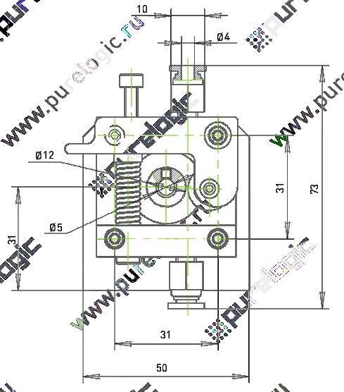 Схема механизма подачи пластиковой нити в 3D принтер